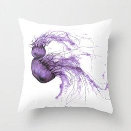 Neanderthal Pacific Sea Nettle, Burgundy  Throw Pillow