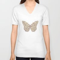 butterfly V-neck T-shirts featuring Butterfly by Mike Koubou