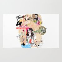 florence Area & Throw Rugs featuring Florence, Italy by Olive Primo Design + Illustration