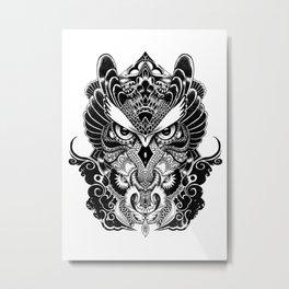 Owl and Dragon Metal Print