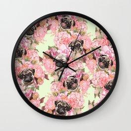 Pugs in Garden Wall Clock