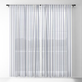 Blue ticking stripes Sheer Curtain