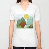 beaver V-neck T-shirts featuring little beaver by Proyecto Melón