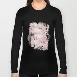 Nostalgic Letter and Postcard Collage Soft Pink Long Sleeve T-shirt