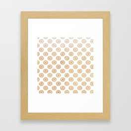 Trendy white faux gold glitter daisies floral pattern Framed Art Print