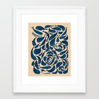 whales Framed Art Prints featuring Whales by Amanda Lima