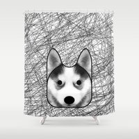 husky Shower Curtains featuring Husky dog by lllg