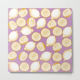 Lemons On Pink Background Metal Print