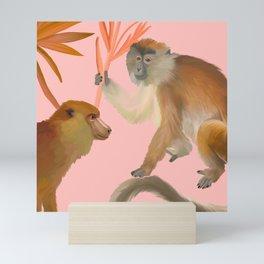Palm Monkey Pattern- Mellow Yellow Collection Mini Art Print