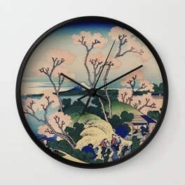 Sakura blossom with Mount Fuji in the background, Japanese fine art Wall Clock