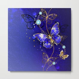 Blue Background with Sapphire Butterfly Metal Print
