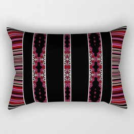 Aztec Inspired Pink Rose Multi Pattern Design Rectangular Pillow