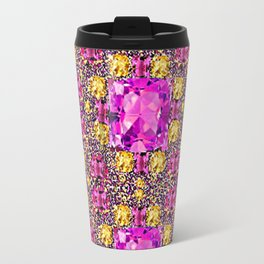 BEAUTIFUL FACETED PINK SAPPHIRES & CITRINES GEMS ART Travel Mug