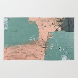 13th and Grant: an abstract mixed media piece in peach green blue and white Rug