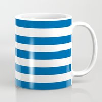 preppy Mugs featuring Preppy Navy & White Stripe by Sweet Karalina