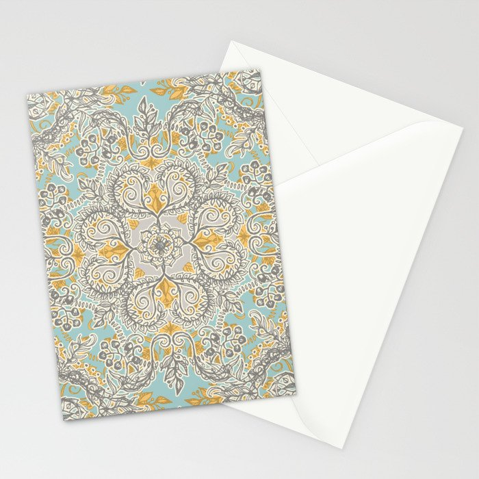 Gypsy Floral in Soft Neutrals, Grey & Yellow on Sage Stationery Cards