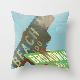 Beach N' Broadway Throw Pillow