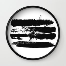 Abstract black brush strokes on white background, monochrome. Print. Wall Clock