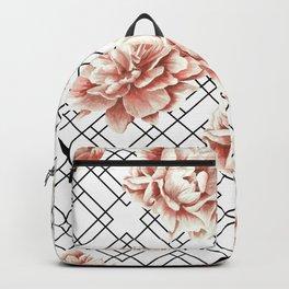 Rose Garden Vintage Rose Pink Cream White Mod Diamond Lattice Backpack
