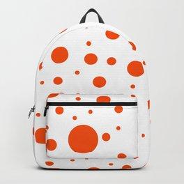 Mixed Polka Dots - Dark Orange on White Backpack