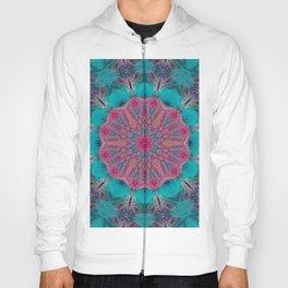 Pink Turquoise Kaleidoscope Mandala - Abstract Art by Fluid Nature Hoody