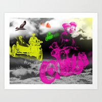 motorbike Art Prints featuring motorbike  by mark ashkenazi