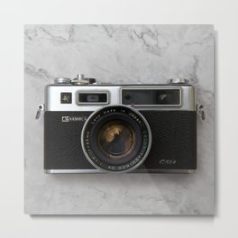Yashica electro 35 on white marble Metal Print
