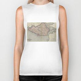 Vintage Map of Staten Island New York (1874) Biker Tank