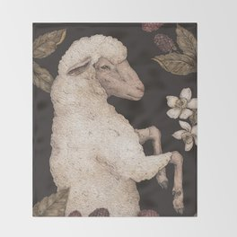 The Sheep and Blackberries Throw Blanket