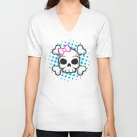 girly V-neck T-shirts featuring Girly Skull by ZombieGirl