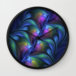 Colorful Luminous Abstract Blue Pink Green Fractal Wall Clock