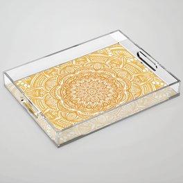 Golden Mustard Yellow Orange Ethnic Mandala Detailed Acrylic Tray