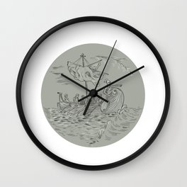 Ancient Greek Trireme Warship Circle Drawing Wall Clock