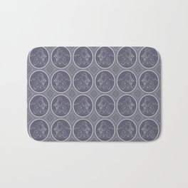 Grisaille Charcoal Blue Grey Neo-Classical Ovals Bath Mat