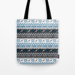Pew Pew Gun Ugly Christmas Sweater Pattern Tote Bag