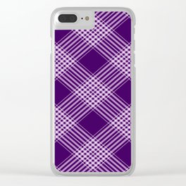 Royal Purple And White Plaid Clear iPhone Case