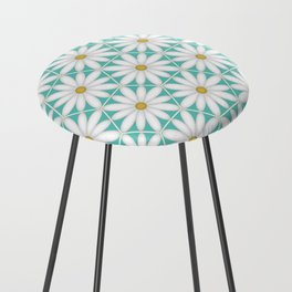 Daisy Hex - Turquoise Counter Stool