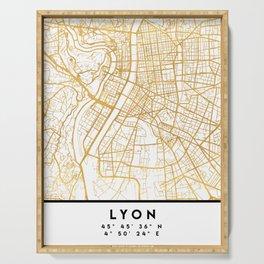 LYON FRANCE CITY STREET MAP ART Serving Tray