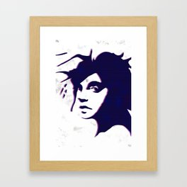 street art style girl in blue and pink on marble pattern Framed Art Print
