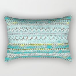 Candle Arches: Chalk/Foam/Teal/Yellow Rectangular Pillow