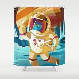 astronaut jumping on europe jupiter satellite surface Shower Curtain