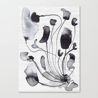 yetiland Canvas Prints featuring ink flowers by Georgiana Paraschiv