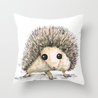 hedgehog Throw Pillows featuring Hedgehog by Bwiselizzy