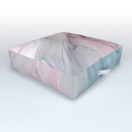 Calming Pastel Flow- Blush, grey and blue Outdoor Floor Cushion