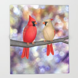 cardinals on a branch - bokeh Throw Blanket