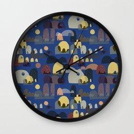 The Village, Dark Blue Background Wall Clock