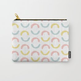 Pastel pink coral blue yellow abstract geometrical circles Carry-All Pouch