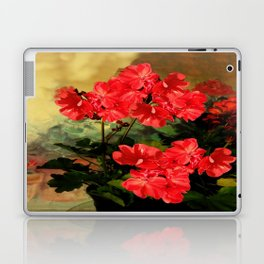 Decorative Red Geraniums  Floral Still Life Art Laptop & iPad Skin