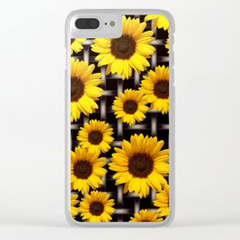 Bright Yellow Sunflower and Industrial Grid Pattern Clear iPhone Case
