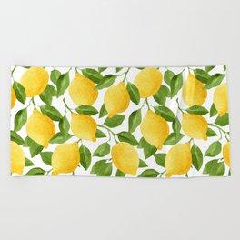 Yellow Lemon Pattern Watercolor Beach Towel